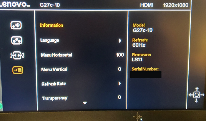 Check model number and bios of monitor if any significance