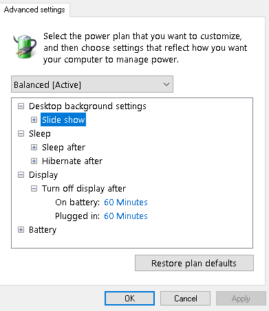 Current Power Options