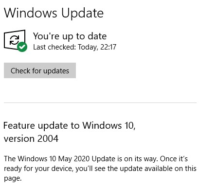 ThinkPad E560 - Window 10 version 2004 update settings - screenshot