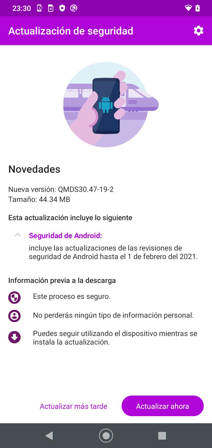 Dispositivo solicitando actualización