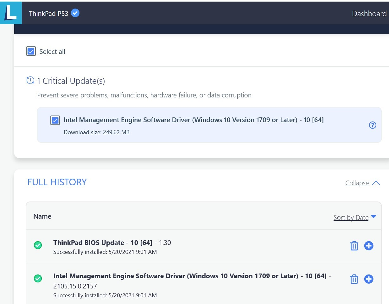 Lenovo Vantage image of update problem