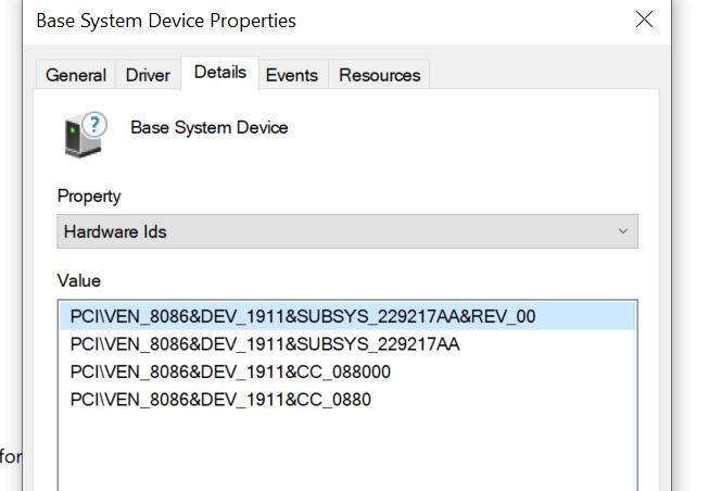 Missing Driver Hardware IDs