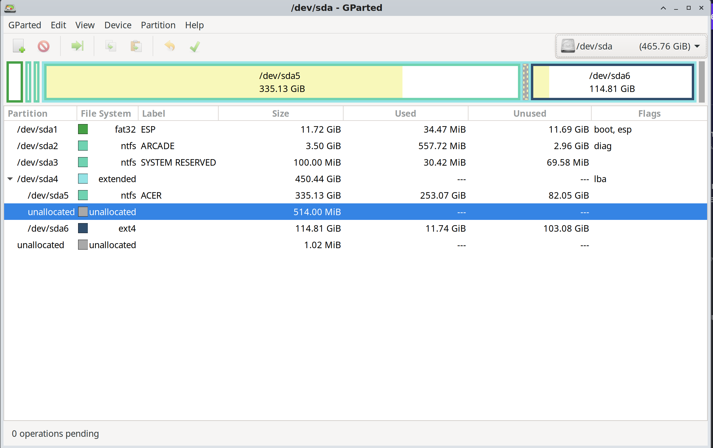 gparted of external USB HDD