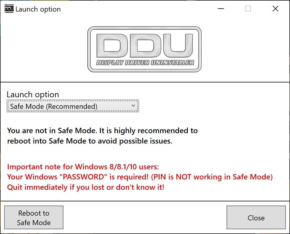 DDU - Reboot to Safe Mode